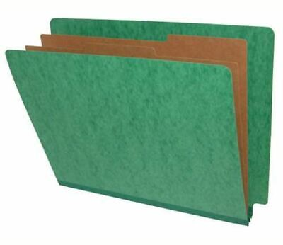 End Tab Type Pressboard Folder w/2 Kraft Dividers - Palm Green - 10 per Box 1 Kraft Divider