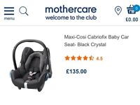 Brand new and unused Mothercare Maxi-Cosi Cabriofix baby car seat - black crystal
