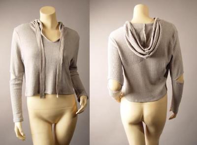 Elbow Cutout Sleeve Thermal Knit Sporty Punk Hoodie Crop Top 255 mv Shirt S M L Elbow Sleeve Hoodie