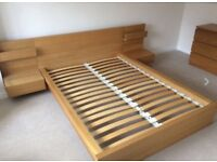 Double Ikea Malm Oak Bedframe and Sidetables - FREE!!
