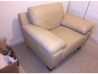 Cream Leather Chair (1 seater) - good condition