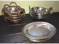 Copper curry bowls with copper handles! Silver curry bowls ,side dishes Restaurant cafe pub home bar
