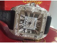 MENS CARTIER SANTOS 100 ICED OUT DIAMOND WATCH FULLY ICED NEW WITH BOX PAPERS TAGS BAG