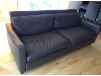 BROWN LEATHER SOFA ORIGINALLY PURCHASED FROM HABITAT