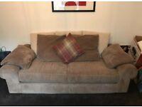 SCS 3 Seater Brown/Cream Sofa