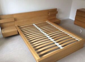Malm Queen Sized Bed Frame with Floating Side Tables