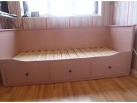 Pink IKEA hemnes day bed with two mattresses