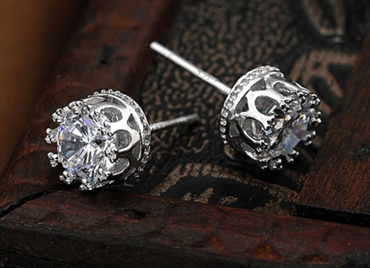 Sterling Silver 925 Round Iced Diamond Earring Stud Gifts for Men or Women Gift