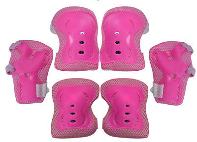 Kids Skating Roller Skateboard Cycling Protector Pads Gear Knee Elbow Wrist Pink