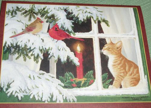 18 Lang Christmas Cards 9 of 2 Designs Kitten Christmas Snowy Windows Glitter