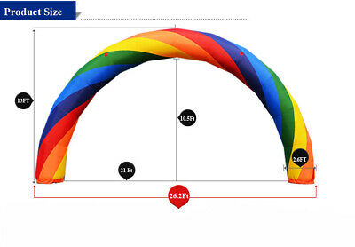 Used 26X10 Ft (8X4Meter) Inflatable Rainbow Advertising Arch 110V Blower Outdoor