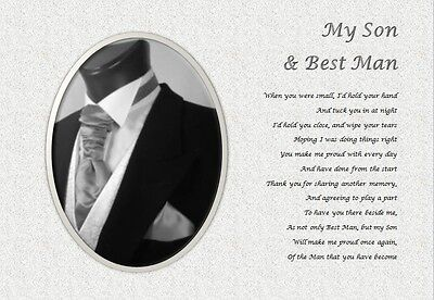 SON BEST MAN GIFT (adult) - Personalised poem written by seller