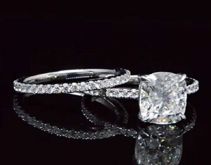 18K WG 2.10 Ct Cushion Cut Diamond Round Pave Engagement Ring Set G,SI1 GIA 1