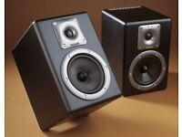 Pair of Tapco S5 powered studio monitors/ speakers & stands