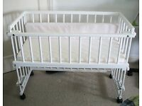 BABY CLASSIC WHITE SOLID WOODEN BEDSIDE COT - Unused!