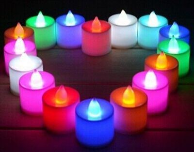 SET 8 MINI CANDELE LED SENZA FIAMMA TREMOLANTE RGB CAMBIA COLORE BATTERIA PUB