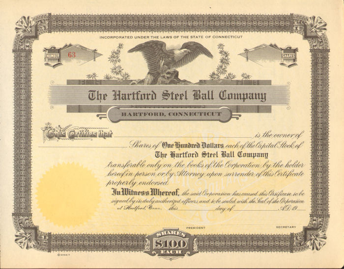 The Hartford Steel Ball Company > Connecticut ball bearings stock certificate