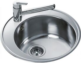 Stainless Steel Recessed Sink with Taps and waste. As New