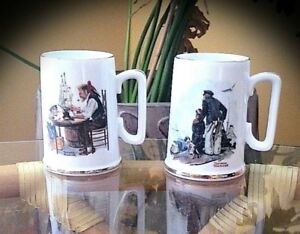 AUTHENTIC 22K GOLD NORMAN ROCKWELL MUGS - SET OF 2 - VINTAGE