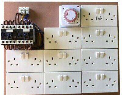 16 Way Contactor Board MDF 40a Grow Light Socket Timer Hydroponics USED SHORT