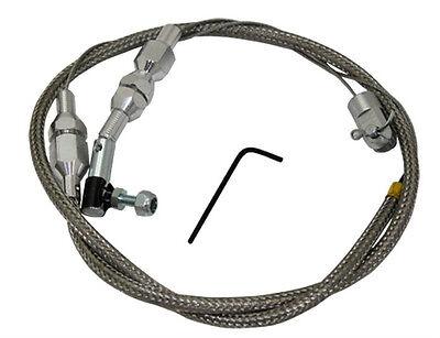 "24"" Stainless Braided Throttle Cable Holley Edelbrock Rat Rod  Hot Rod Custom"