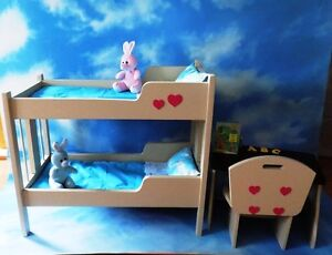 SOLID WOOD DOLL BUNKBEDS AND DOLL DESK WITH CHAIR