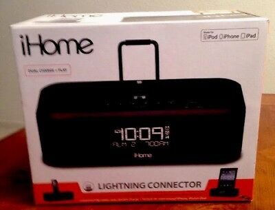 iHome IDL95 Lightning Dock Clock Radio USB Charge/Play - iPad/iPod, iPhone 5/5S