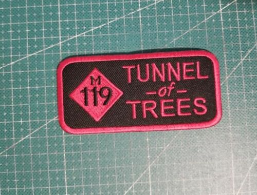 """M 119 TUNNEL OF TREES 4""""  Biker Patch sewn iron RED"""