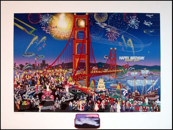 "Melanie Taylor Kent ""golden Gate Bridge"" With Remarque Fireworks Hand Signed"