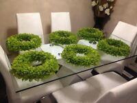 wedding supplies - green table wreaths & vases