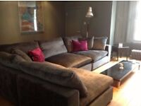 Corner Sofa, Great Condition RRP £4,200, Long Island Crush Velvet Truffle, complete set with pillows