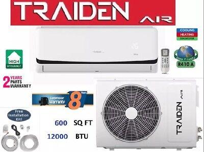 12000 BTU Ductless Air Conditioner, Heat Pump Mini Split 110V: 1 TON w/ KIT