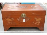 Hand Carved Chinese Teak Ottoman Coffer Linen Chest Or Trunk Blanket Box