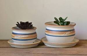 Vintage Handmade Pottery Plant Pots or Planters - Set of Two Ringwood Maroondah Area Preview