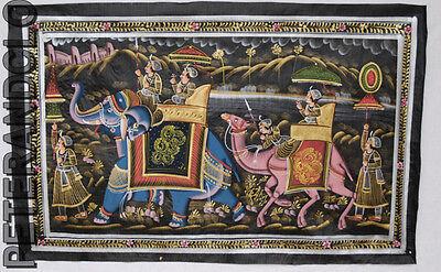 Mural Hanging Painting Mughal on Silk Art Scene de vie India 74x47cm 23