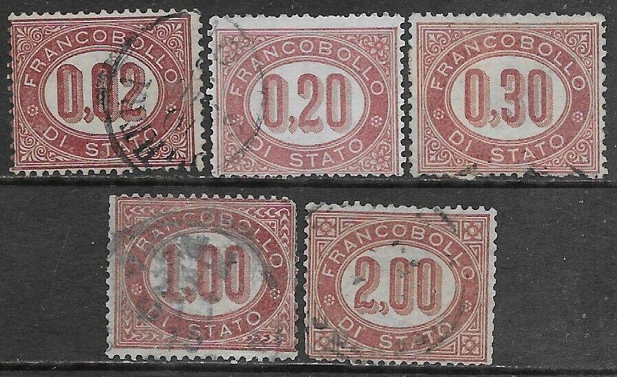 Italia Italy 1875 Regno servizio di stato 5val Sa n.SE1,SE3-SE6 US