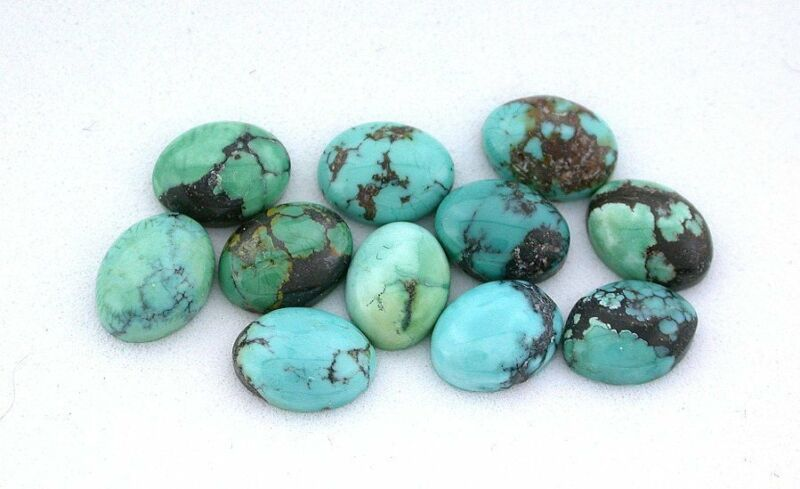 TWO 8.5mm x 6.5mm Oval Natural Arizona Turquoise Cab Cabochon Gemstone Gem Stone