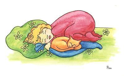 ORANGE CAT KITTEN GIRL SLEEPING DREAMING CUDDLING CUTE CHILDREN'S ROOM PAINTING