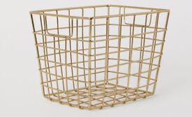 two small golden metal storage baskets from HM home