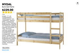 Ikea Mydal bunk bed + two spotless twin mattress combo