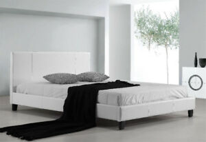 White Faux Leather King bed frame and Mattress