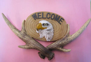 Carved Eagle Welcome Sign