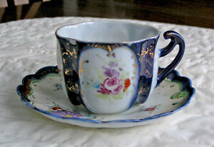 Royal Bayreuth Fine Bone China Cup & Saucer (Colbalt Blue)