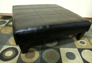 EXCELLENT Large Black Leather Square Ottoman SEE VIDEO