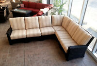 Outdoor Patio Sectional w Curved Corner, wicker set, furniture