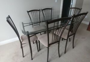 Glass Dining Room Table, 6 chairs