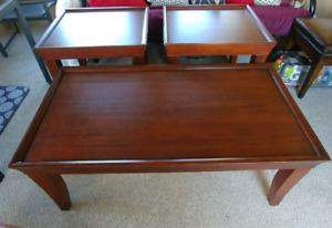 Coffee table set with two end tables