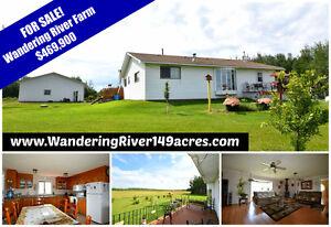 FOR SALE, wandering river 149 acre farm, house/shop!