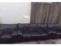 3 seat leather sofa with two matching arm chairs