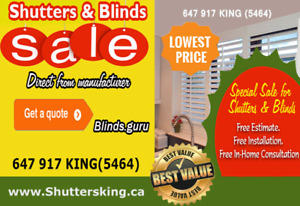 Shutters,Blinds&Shades Special sale